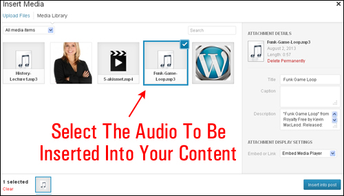wordpress how to play audio