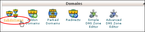 Using cPanel - Subdomains