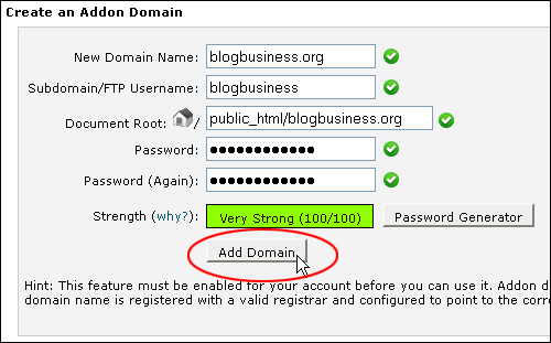Using cPanel - Addon Domains