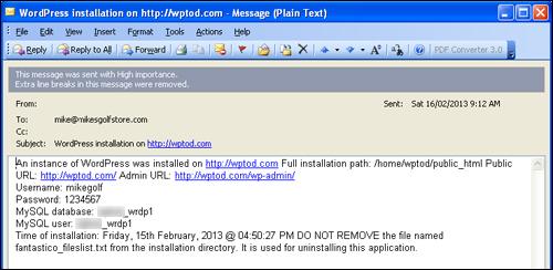 WordPress Installation Email