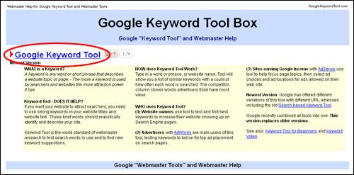 Google Keyword Tool Box