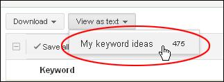 Building a keyword list