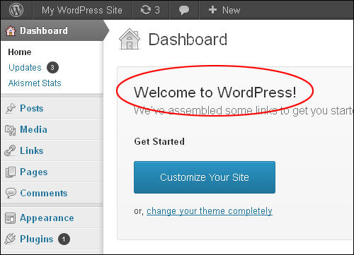 Welcome To WordPress Message