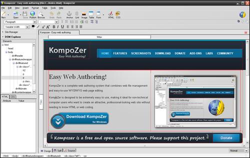 Kompozer - Free HTML Editor