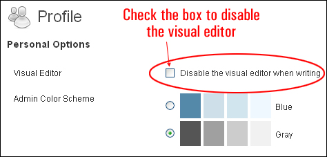Disabling the WordPress visual editor
