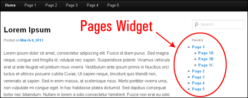WordPress Pages Widgets