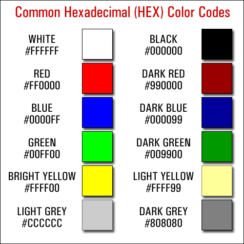 Commonly Used HEX Colors
