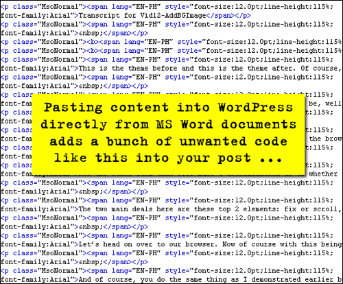 Pasting Content Into WordPress From MS Word