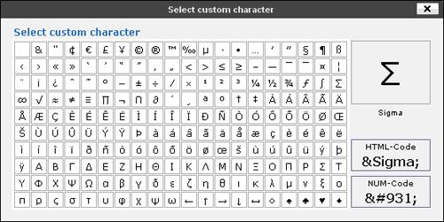 Insert Custom Character