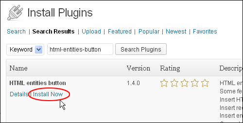 HTML Entities Button - WordPress Plugin