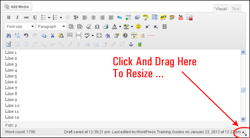 How To Resize The WP Visual Editor Text Box